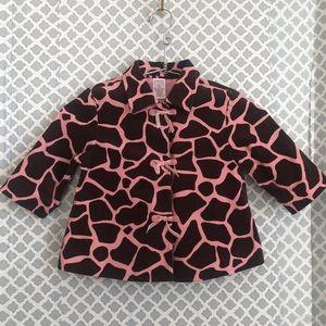 Gymboree pink brown giraffe coat jacket 18-24mo.